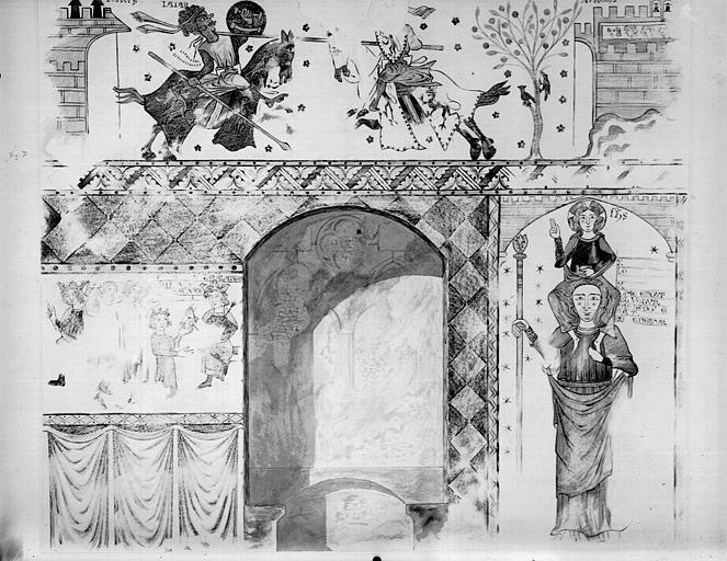 Relevé de peintures murales : combat équestre d'un chrétien contre un maure ; saint Christophe et l'Enfant