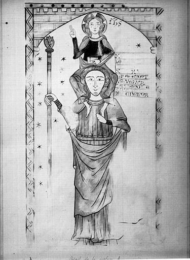 Relevé de peintures murales : saint Christophe et l'Enfant