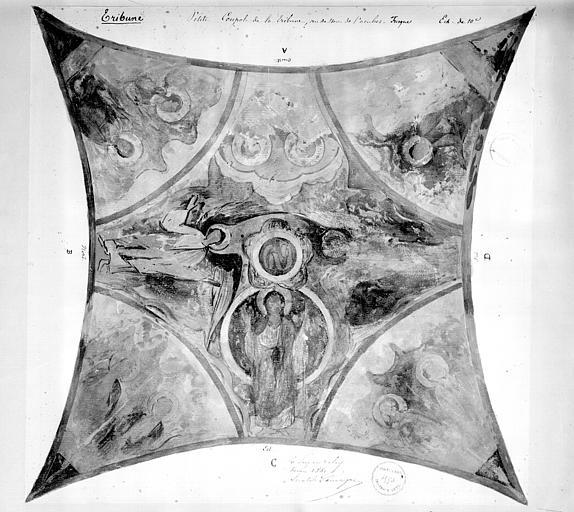 Relevé de peintures murales de la coupole des tribunes : anges et saints