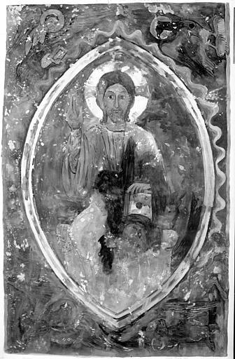 Relevé de peintures murales, chapelle Saint-Michel : le Christ en majesté entouré des 4 symboles des évangélistes