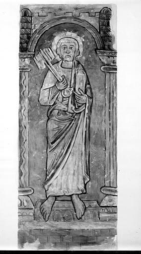 Relevé de peintures murales de l'abside : saint Pierre