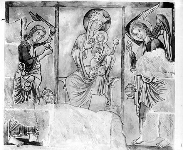 Relevé de peintures murales du choeur : Vierge à l'Enfant avec deux anges
