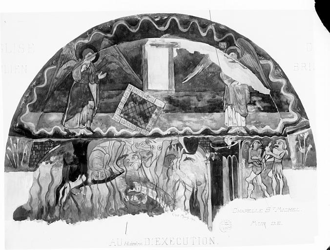 Relevé de peintures murales, chapelle Saint-Michel : les Enfers