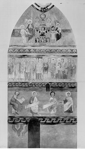 Relevé de peintures murales du bras nord du transept : la Jérusalem céleste, des saints, les évangélistes
