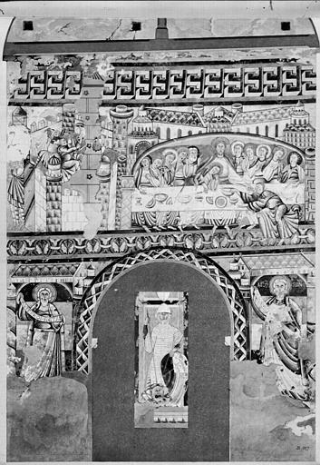 Relevé de peintures murales : la Cène, un prophète, Moïse, un chevalier