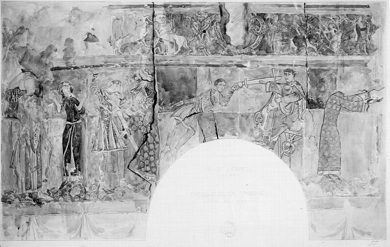 Relevé de peintures murales de la tribune : le martyre de sainte Valery, Etienne remet son épée au bourreau