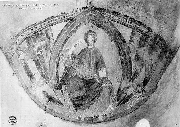 Relevé de peintures murales de la voûte du choeur de la chapelle : le Christ en majesté entouré du symbole des évangélistes