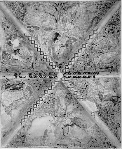 Relevé de peintures murales de la voute du choeur : l'Annonciation, la Visitation, la Nativité, la Chevauchée des rois mages, les rois mages devant Hérode, l'Adoration des mages, le Songe des rois mages, la fuite en Egypte, le Baptême du Christ