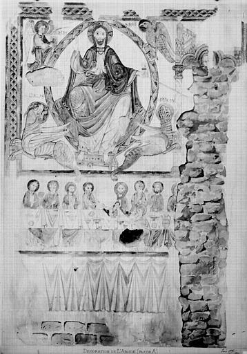 Relevé de peintures murales de la décoration de l'abside : Christ en majesté avec les symboles des évangélistes, la Cène