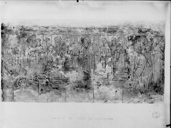 Relevé des peinture murale : les funérailles d'un abbé