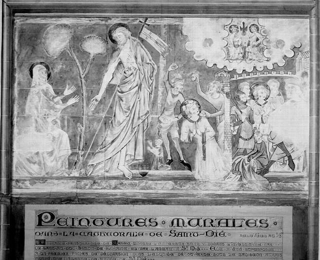 Relevé de peintures murales : le Christ apparaissant à Marie-Madeleine, le martyre de saint Etienne
