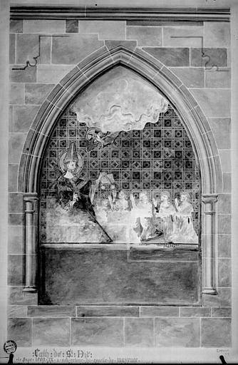 Relevé de peintures murales : le pape Léon X remet une bulle à son frère