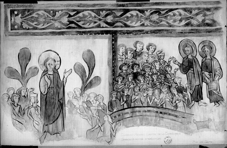 Relevé de peintures murales de la crypte : Jésus préchant, la multiplication des pains