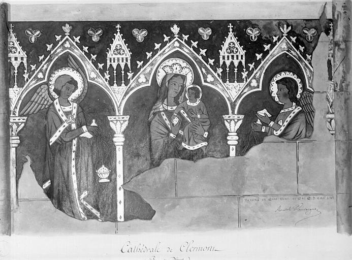 Relevé de peintures murales : Vierge à l'Enfant entre deux anges