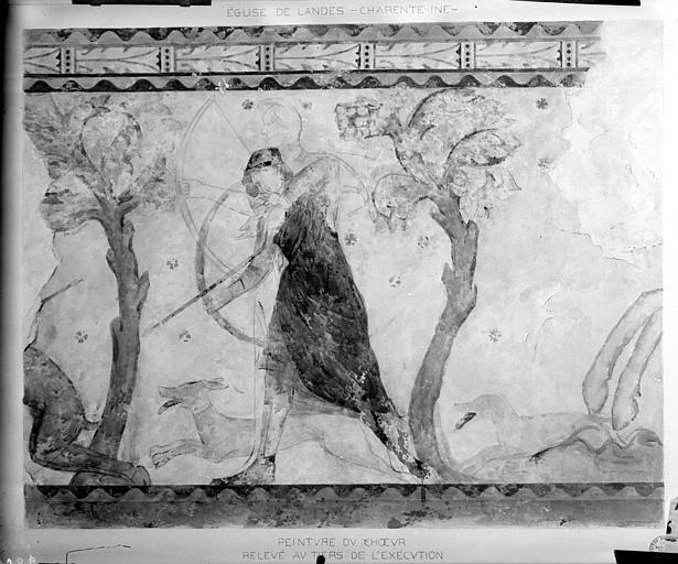 Relevé de peintures murales du choeur : homme chassant