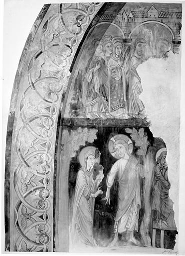 Relevé de peintures murales : deuxième sacre de David à Hébron par le prophète Nathan ; le Christ apparaissant à sainte Marie-Madeleine