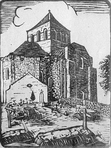 Gravure : ensemble nord-est de l'église et cimetière