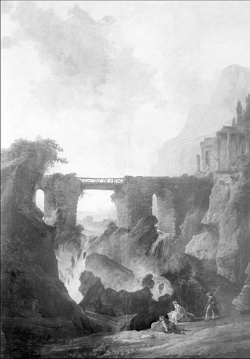 Peinture sur bois : ruines et paysage