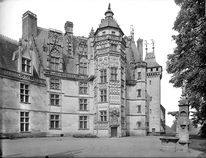 Cour : façade du logis (partie droite) avec la tour dite du Lion et le puits