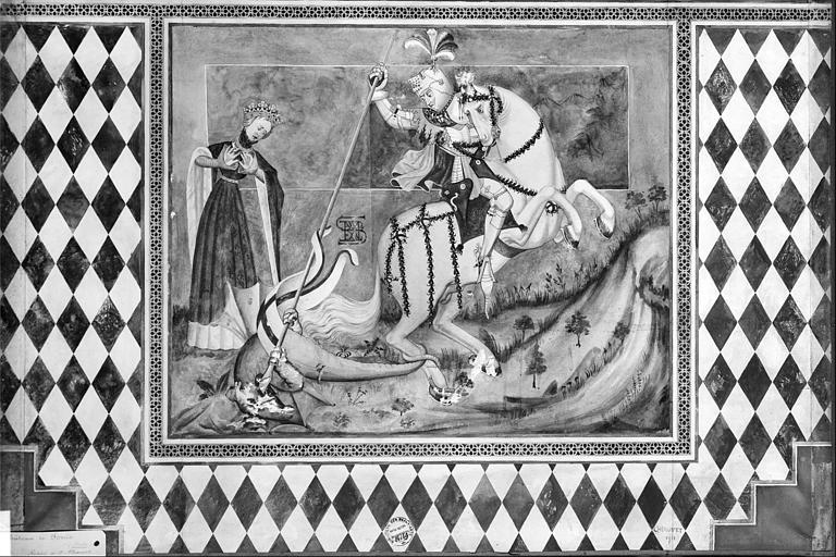 Relevé de peinture murale : saint Georges tuant le dragon