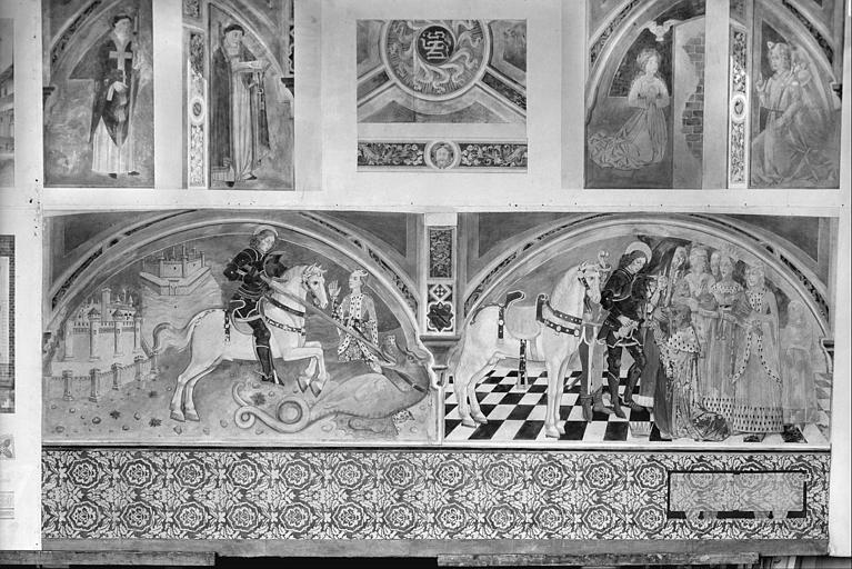 Peinture murale : l'Annonciation, saint Georges terrassant le dragon, saint Georges devant le roi de Libye