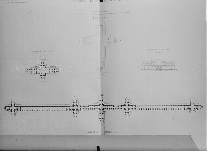 Plans et élévations : entrée de la première enceinte, édicule de la chaussée, terrasse