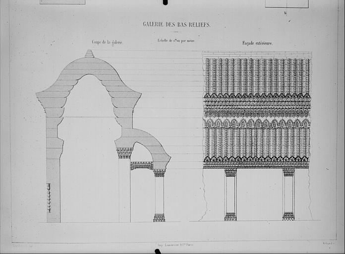 Coupe de la galerie des bas-reliefs et façade extérieure