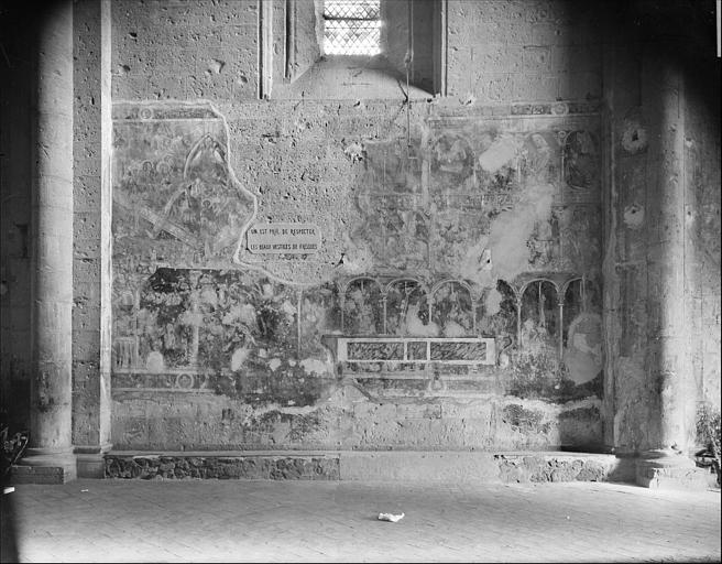 Relevé de peinture murale, deuxième travée côté sud : Jugement dernier, Vertus, Vices