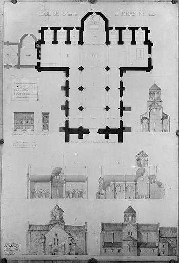 Plan général, coupes longitudinale et transversale de l'église, façade est et façade ouest
