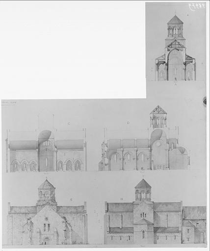 Coupes longitudinale et transversale de l'église, façade est et façade ouest