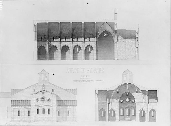 Coupes longitudinale et transversale de l'église, façade est restaurée