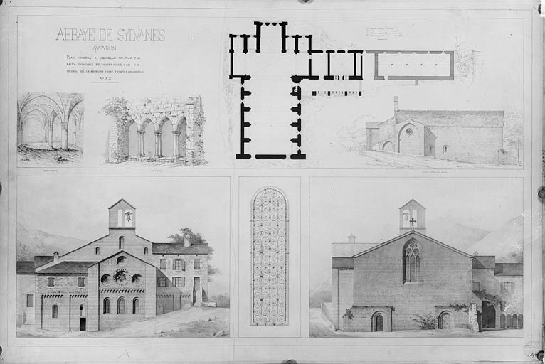 Plan général, relevés du réfectoire et du cloître, façade est et façade ouest, détail d'une fenêtre du choeur