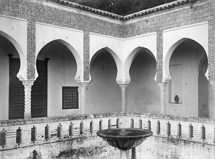 Cour de marbre : fontaine, galerie