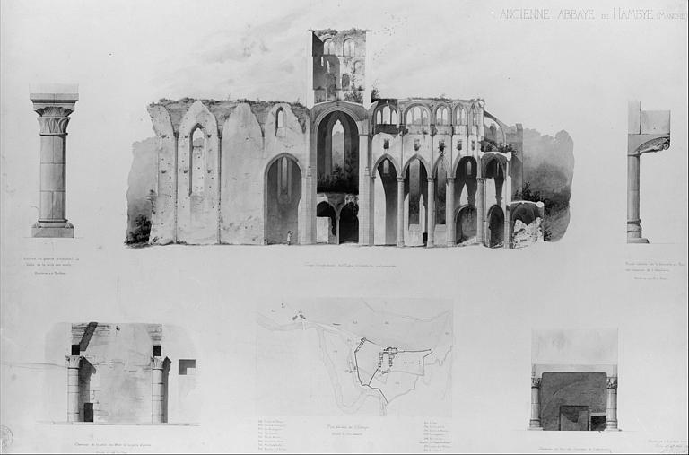 Relevés du plan général, coupe longitudinale, colonnes et cheminée