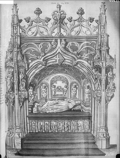 Gravure éditée du tombeau de Marguerite de Bourbon