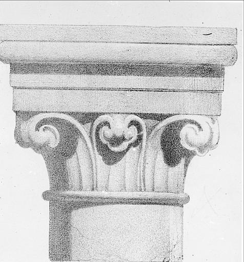 Lithographie : chapiteau de la salle des Chevaliers