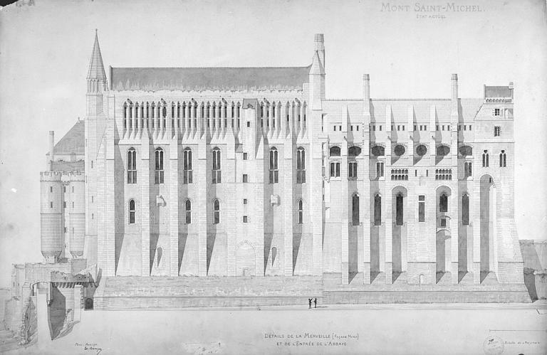 Relevé : la Merveille, façade nord et entrée de l'abbaye