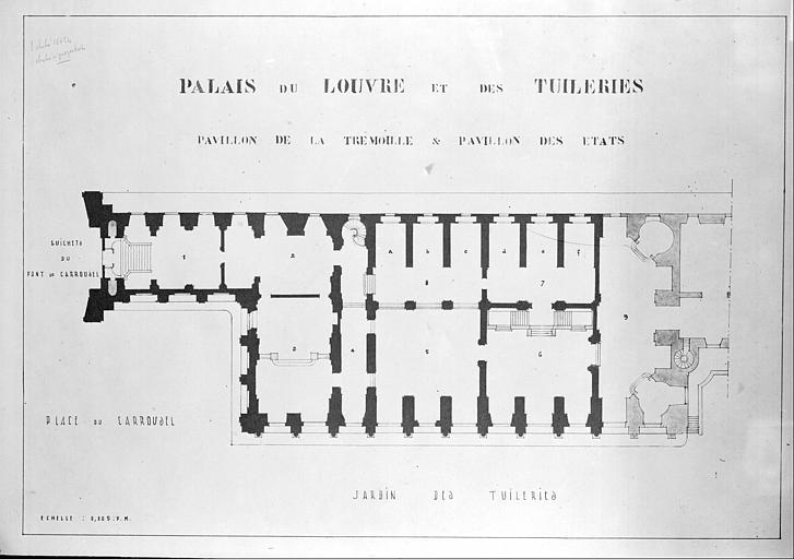 Plan : pavillon de la Trémouille et pavillon des Etats