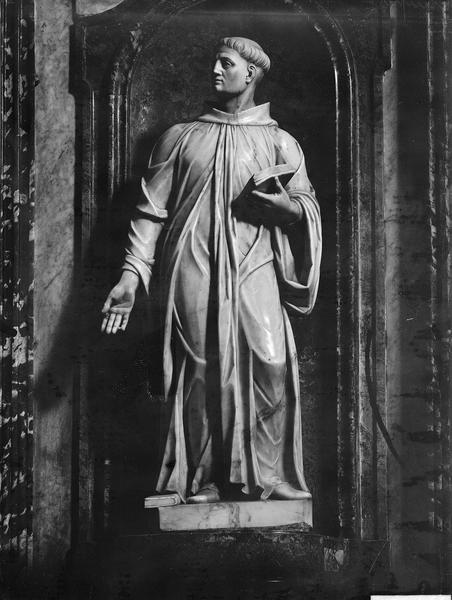 Statue de saint Maur en marbre blanc