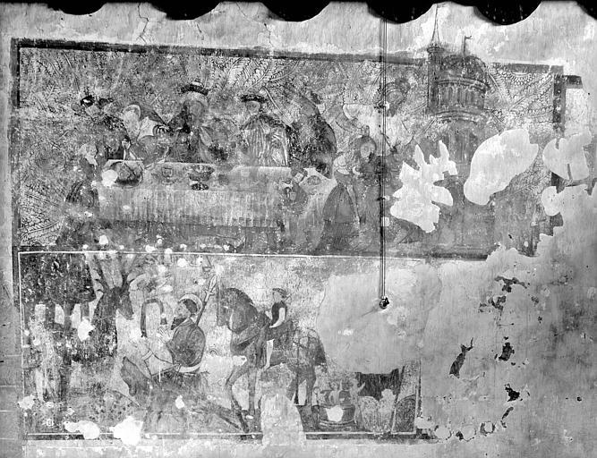 Peintures monumentales : Saint Christophe, Saint Nicolas, Saint Hubert, Décollation de saint Jean-Baptiste, Saint Martin, Saint Armel