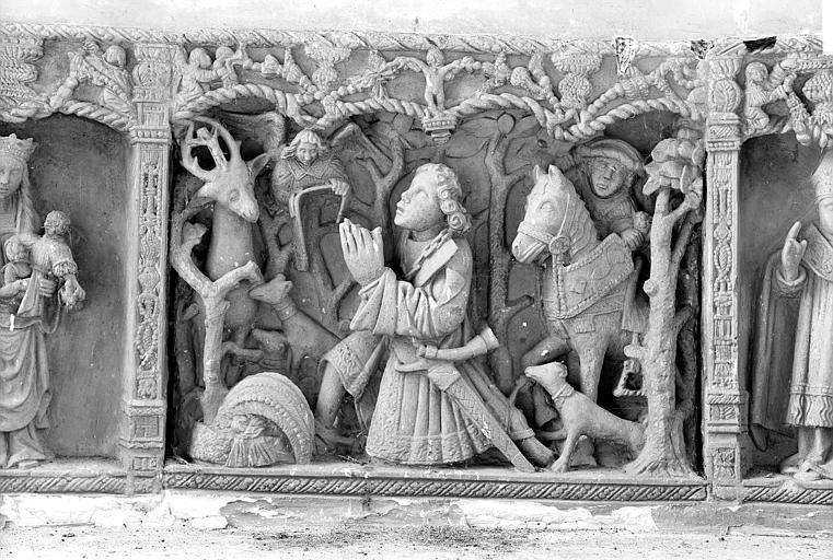 Chapelle Saint-Hubert. Retable, bas-relief : Chasse de saint Hubert, détail