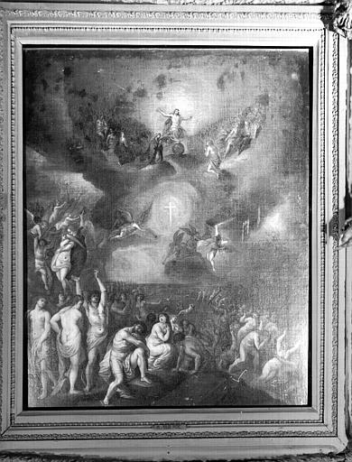 Tableau encadré dans la sacristie : détail de la peinture