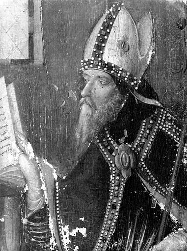 Panneau peint (sacristie) : évêque, détail de la tête