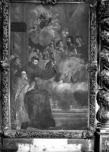 Tableau de l'autel de saint François : Guillaume d'Hugues, archevêque d'Embrun, entouré de saints