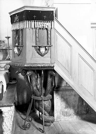 Chaire à prêcher, support de cuve «hydre à sept têtes», bois peint