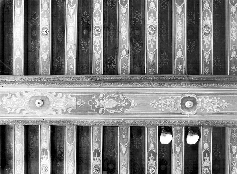 Salon de l'aile droite, plafond, bois peint