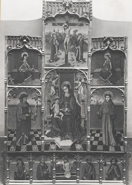 Polyptyque en bois peint : Vierge à l'Enfant, Crucifixion et quatre saints