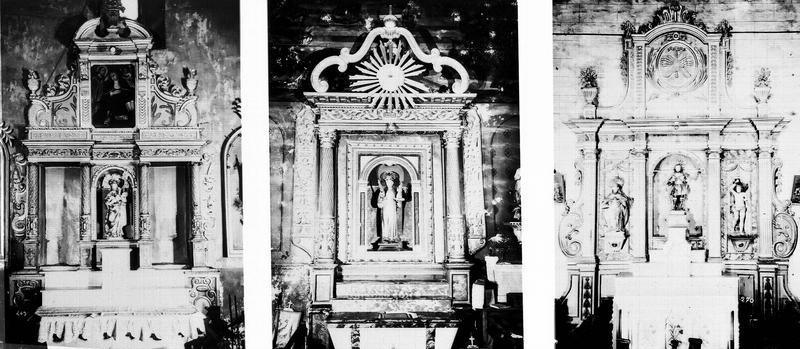 Retable, 3 statues de saint Gaudérique : saint Gaudérique, saint Sébastien, saint Thérèse