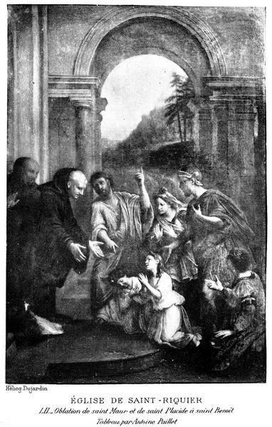 Tableau : Saint Benoît recevant des enfants