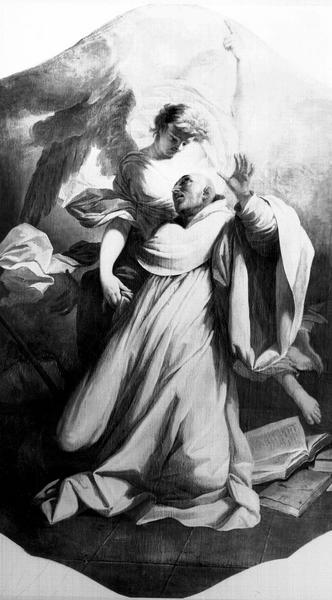 Peinture sur toile : vision de saint Benoît
